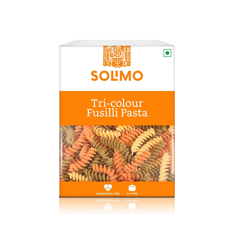 Amazon Brand – Solimo Tri-Colour Durum Wheat Fusilli Pasta, 500g