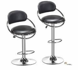 Da URBAN Oster Height Adjustable Bar Stool Chair (Black) (Set of 2)