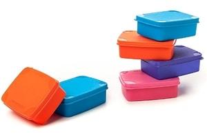 Signoraware Handy Square Plastic Container Set, 150ml, Set of 6, Multicolour