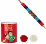 Aheli Wooden Om With Beads Rakhi