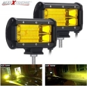 AllExtreme EX7IY2P 7 Inch CREE Led Fog Light 24 LED Waterproof Cube Pod Spot Lamp with Mounting Brackets for Cars and Motorcycle (72W, Yellow Light, 2 PCS)