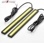 AllExtreme EXDW2C Universal Ultra Bright Daytime Running LED Lights Waterproof Slim Chip COB LEDs Strip DRL Lamp for Cars (6W, White Light, 2 PCS)