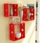 Home Sparkle 3 Cube Wall Shelves Engineered Wood (Red)