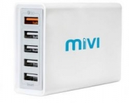 Mivi Desktop USB Charging Station HUB: [ Qualcomm® Quick Charge™3.0 certified] 5 port 8A USB Turbo charging adapter with fast charging and turbo charging compatible with all mobiles, tablets and more (Silver) 8 A Multiport Mobile Charger  (Silver/White)