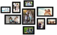 Random Photo Frames (Synthetic Wood, 34 cm x 26.5 cm x 15 cm, Black, Set of 9)