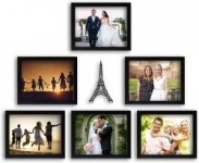 Random Photo Frames with Eifell Tower MDF Plaque (Synthetic Wood, 34 cm x 26.5 cm x 15 cm, Black, 6 Piece)
