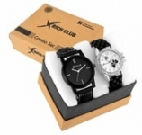 Rich Club Pack of 2 Stylish Analogue Couple Watch Combo for Men and Women (Slim+LUI-BLK)